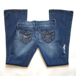 Women's Distressed Flare Low Rise Jeans